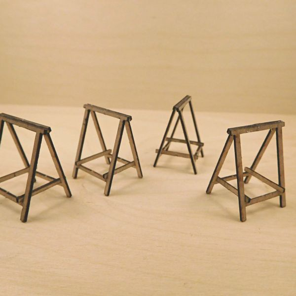 <p>This set contains parts to assemble 4 pairs of builders' trestles. They can be constructed folded open or closed.<br />