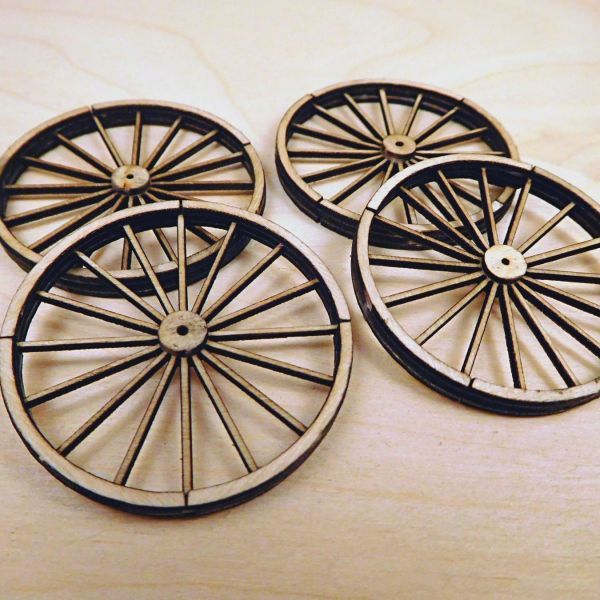 <p>This set contains parts to assemble 4 large, 16-spoked, detailed wagon wheels. The wheels have a realistic effect due to the separate cladding and hub-discs on both sides.<br />