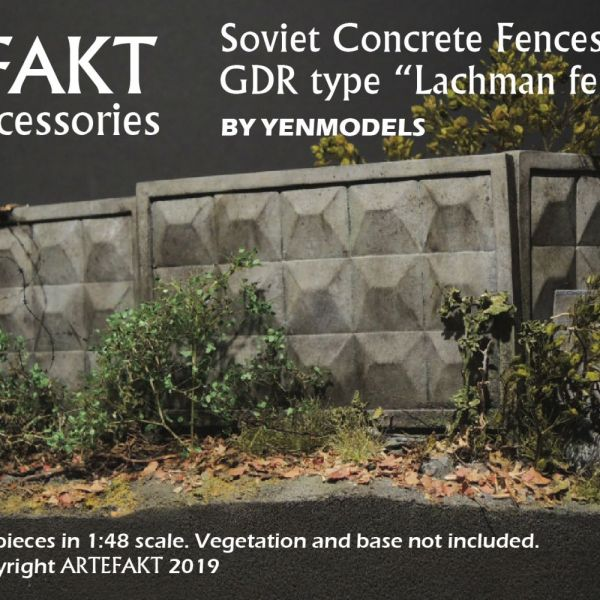 """<p>The 1:48 version of Artefakt's resin Sovietconcrete fences, officially known as """"late Fence PO-2 (плита ограда по-2)"""", designed by Boris Lachman.<br /> <br /> These wereused in the USSR and Eastern bloc-states from 1950 onwards on many official sites (military barracks, hospital compounds, industrial plants, etc).<br /> <br /> Sculpted after genuine items located in the former GDR.<br /> Cast from a handmade (not 3D-printed) master by Alex Friedrich.<br /> <br /> Each set contains 3 pieces in a ziplock bag.<br /> <br /> Box art-diorama and pic by Alex Friedrich.</p>"""
