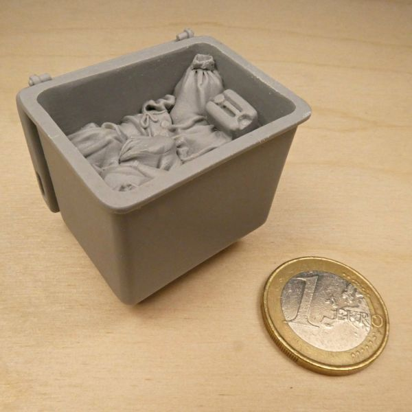 <p>Big, 6-part, solid resin cast, trash-filled industrial waste container.<br />