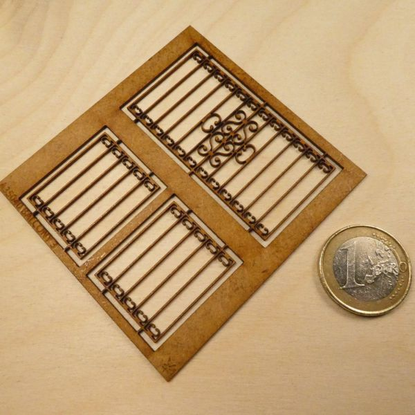 "<p>Contains lasercut MDF parts to assemble a ""forged iron"" balcony.<br />