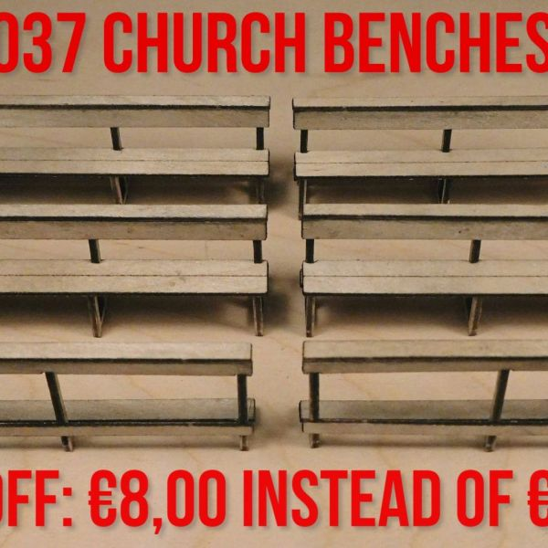 <p>This set features parts to assemble 4 complete church benches, as well as a pair of front-row armrests.<br />