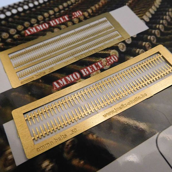 <p>Photo-etched brass MG ammo-belts: 3 lengths of .30 calibre, and 2 lengths of .50 calibre.</p>