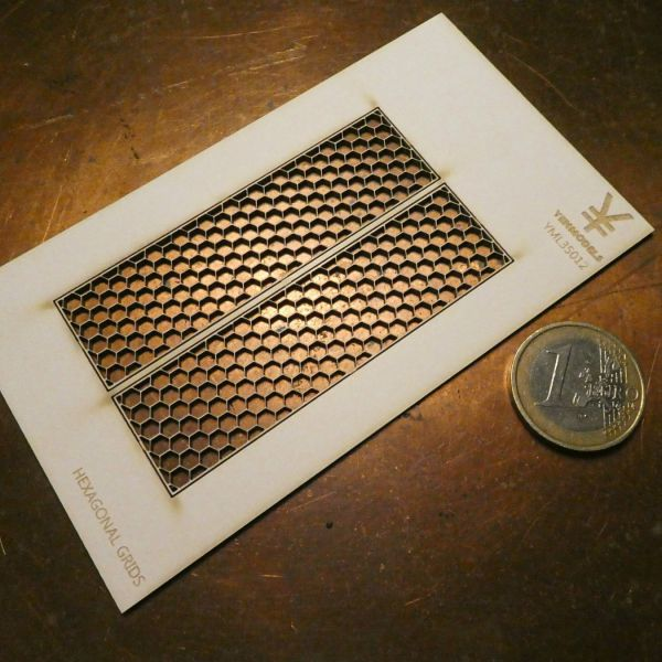 <p>A pair of ultra-fine, lasercut hexagonal grids, to use as metal walkways or wall-panelling in architectural projects, industrial environments, military bases and bunkers and/or sci-fi settings.<br />