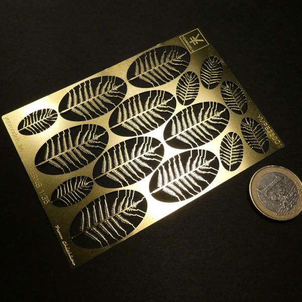 <p>This ultra-thin (0,2mm) photoetched brass sheet holds 15ultra-fine fern frondsin varying sizes (8 x L, 7 x S),<br /> expertly etched for us by Nikita Chichkov from NV Chichkov. (Stavropol).<br /> <br /> Useable in 1:35 and 1:24.</p>