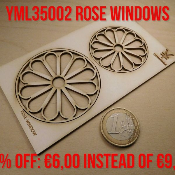 "<p>This set contains 2 laser-cut ""rose""-windows in 2 different sizes.<br />